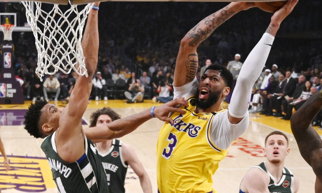 Anthony Davis and Giannis Antetokounmpo, Los Angeles Lakers vs Milwaukee Bucks at STAPLES Center