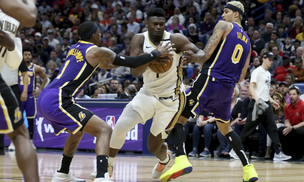 Zion Williamson, Kentavious Caldwell-Pope and Kyle Kuzma, Los Angeles Lakers vs New Orleans Pelicans at Smoothie King Center