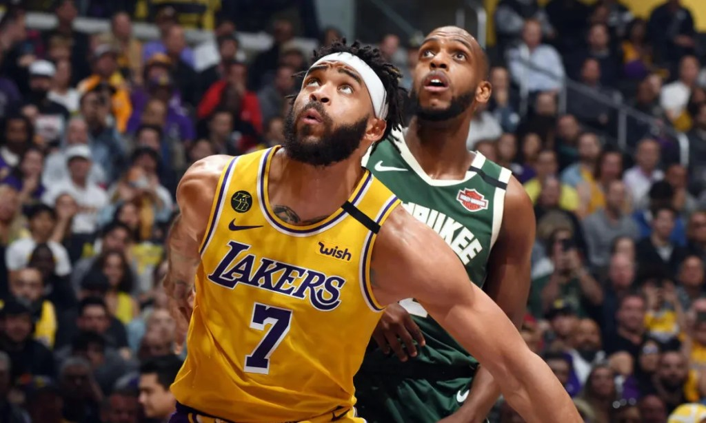 JaVale McGee and Khris Middleton, Los Angeles Lakers vs Milwaukee Bucks at STAPLES Center