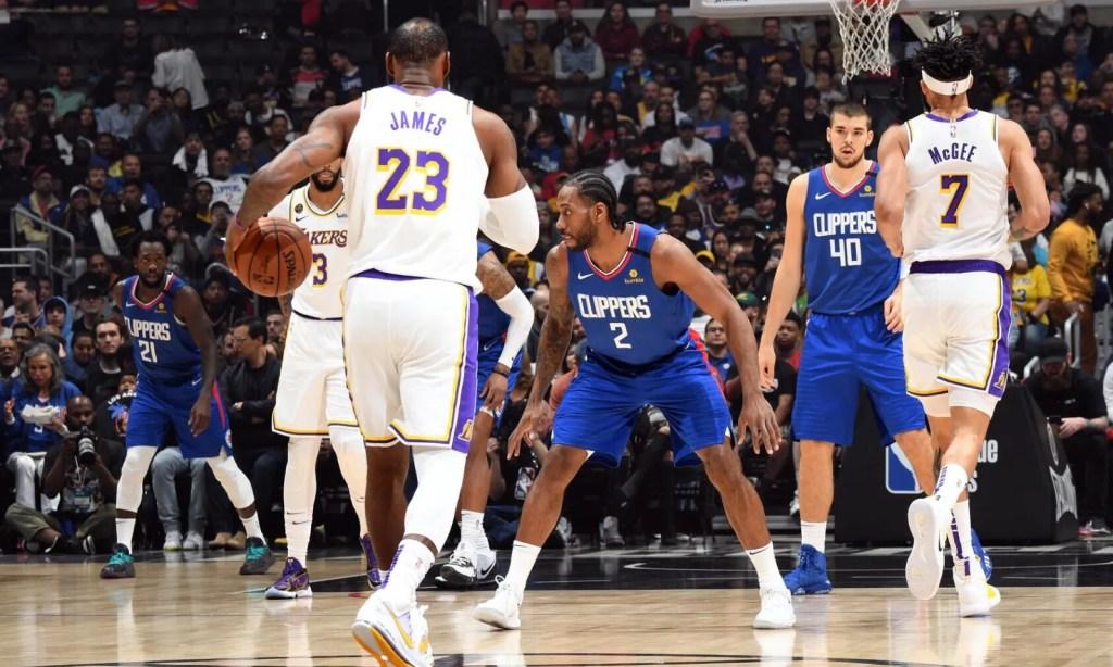 LeBron James and Kawhi Leonard, Los Angeles Lakers vs LA Clippers at STAPLES Center