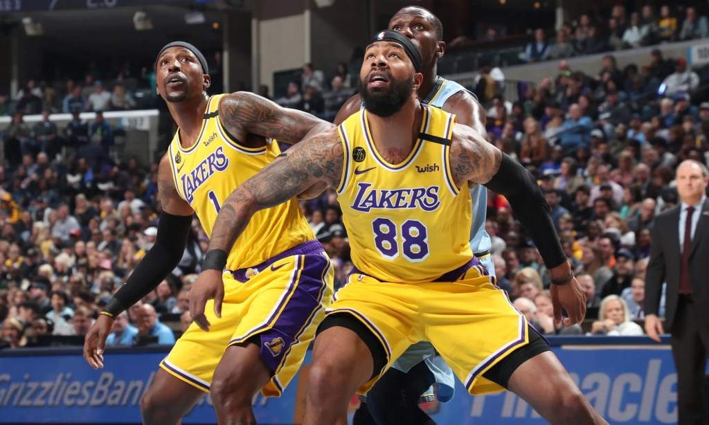 Kentavious Caldwell-Pope and Markieff Morris, Los Angeles Lakers vs Memphis Grizzlies at FedExForum