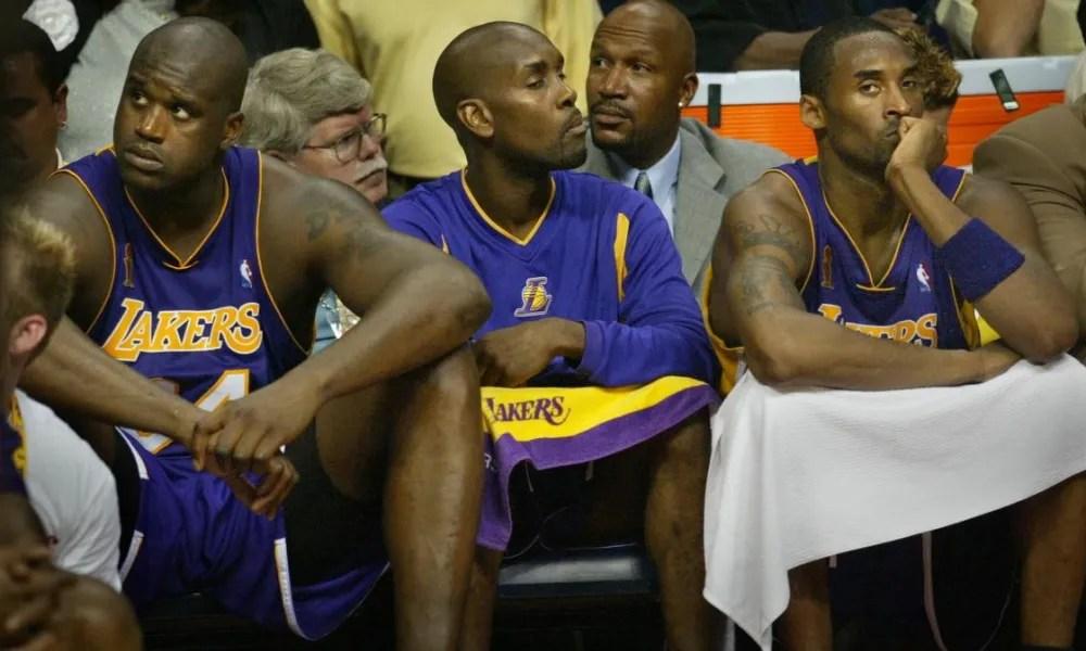 Shaquille O'Neal, Gary Payton and Kobe Bryant