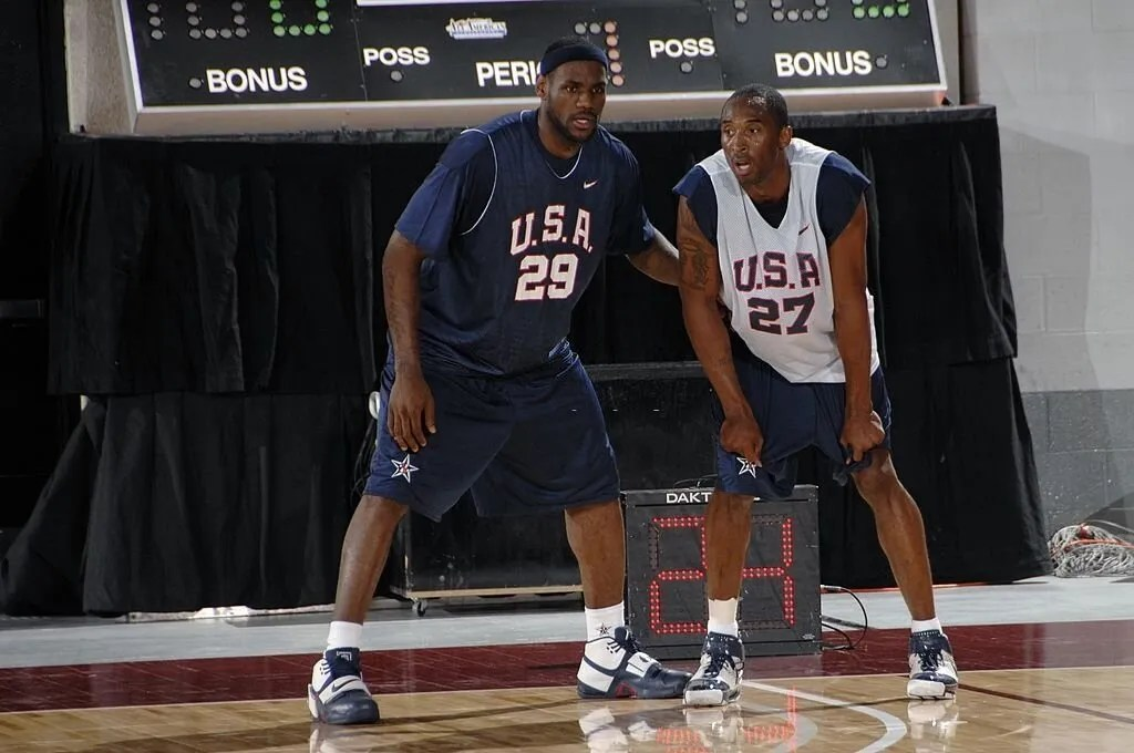 LAS VEGAS - JULY 20: LeBron James #29 and Kobe Bryant #27 guard each other during the first day of practice for the USA Men's Senior National Basketball Team at Cox Pavilion July 20, 2007 in Las Vegas, Nevada. NOTE TO USER: User expressly acknowledges and agrees that, by downloading and or using this photograph, User is consenting to the terms and conditions of the Getty Images License Agreement. Mandatory Copyright Notice: Copyright 2007 NBAE