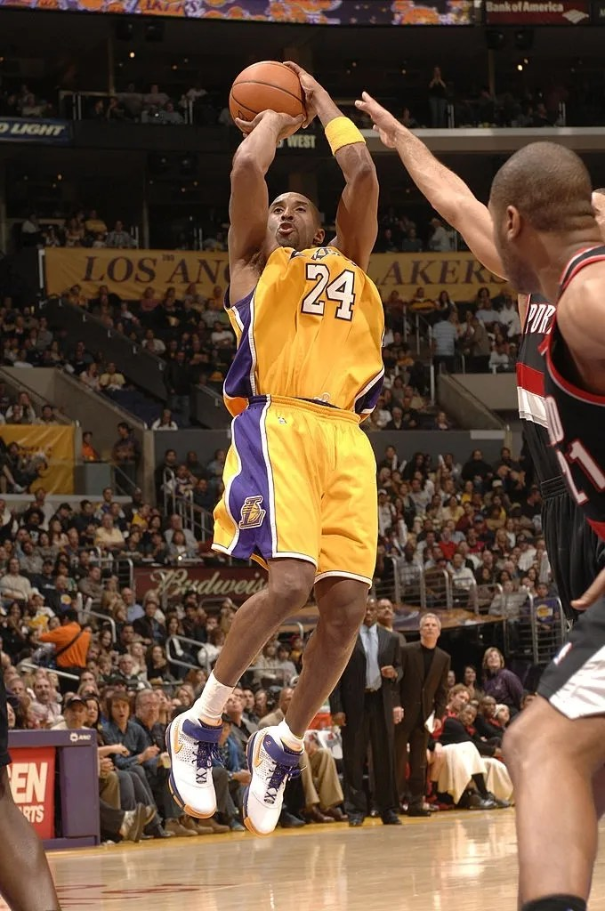 Kobe Bryant #24 of the Los Angeles Lakers puts up a shot against the Portland Trail Blazers on March 16, 2007 at Staples Center in Los Angeles, California.