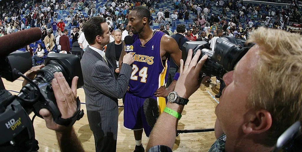 Kobe Bryant #24 of the Los Angeles Lakers speaks to a TV reporter after scoring 50 points in his game against the New Orleans/Oklahoma City Hornets on March 23, 2007 at the New Orleans Arena in New Orleans, Louisiana. The Lakers defeated the Hornets 111-105.