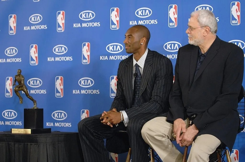Kobe Bryant #24 and head coach Phil Jackson of the Los Angeles Lakers during the 2007-08 NBA Most Valuable Player Award press conference presented by Kia Motors at the Sheraton Gateway Hotel on April 29, 2008 in Los Angeles California.