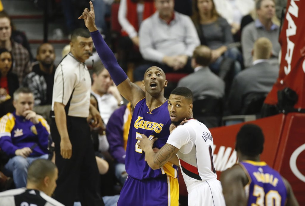 Kobe Bryant faces Damian Lillard in his final game against the Blazers. The Portland Trailblazers play the Los Angeles Lakers at the Moda Center in Portland, Oregon, Saturday, January 23, 2016. Thomas Boyd/Staff LC- Staff