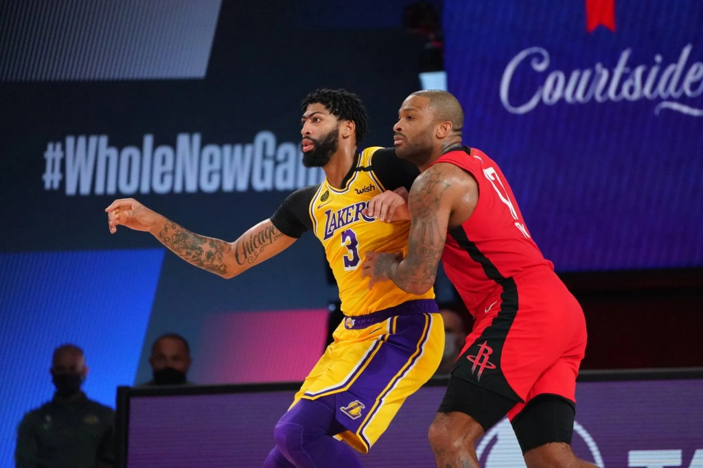 Anthony Davis #3 of the Los Angeles Lakers and P.J. Tucker #17 of the Houston Rockets fight for position during Game Four of the Western Conference Semifinals on September 10, 2020