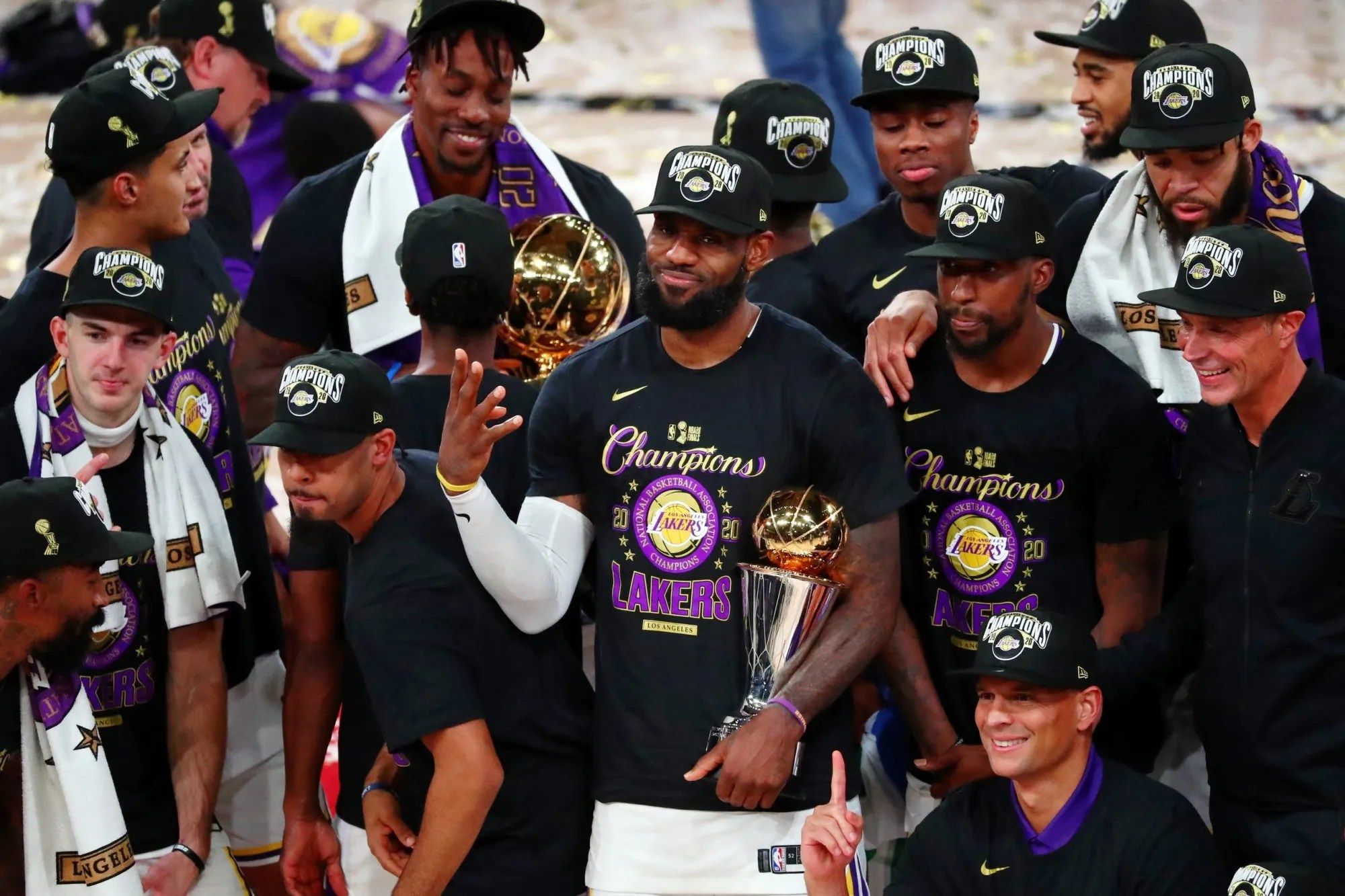 LeBron James with his MVP trophy