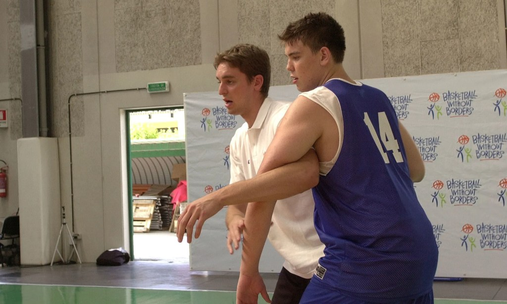 Marc Gasol goes through drills with his brother Pau Gasol during Basketball without Borders 2003 on June 29, 2003 at La Ghirada, in Treviso, Italy. NOTE TO USER: User expressly acknowledges and agrees that, by downloading and/or using this photograph, user is consenting to the terms and conditions of the Getty Images License Agreement. Mandatory Copyright Notice: Copyright 2003 NBAE