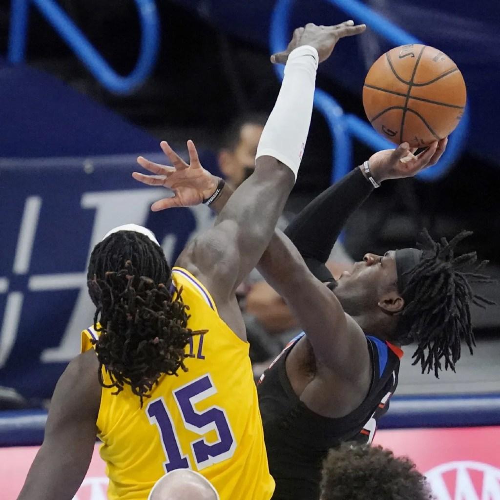 Montrezl Harrell and Luguentz Dort, Los Angeles Lakers vs Oklahoma City Thunder