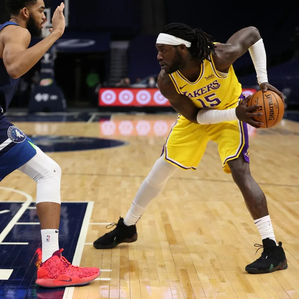 Karl-Anthony Towns and Montrezl Harrell, Los Angeles Lakers vs Minnesota Timberwolves