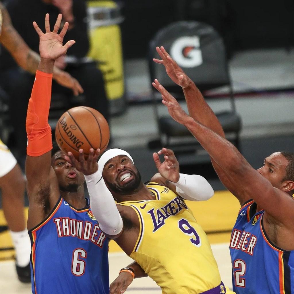 Wesley Matthews, Hamidou Diallo and Al Horford, Los Angeles Lakers vs Oklahoma City Thunder