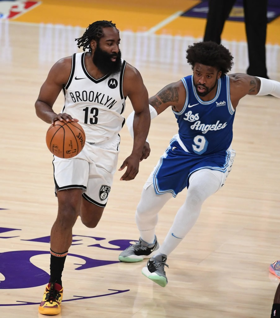 James Harden and Wesley Matthews, Los Angeles Lakers vs Brooklyn Nets