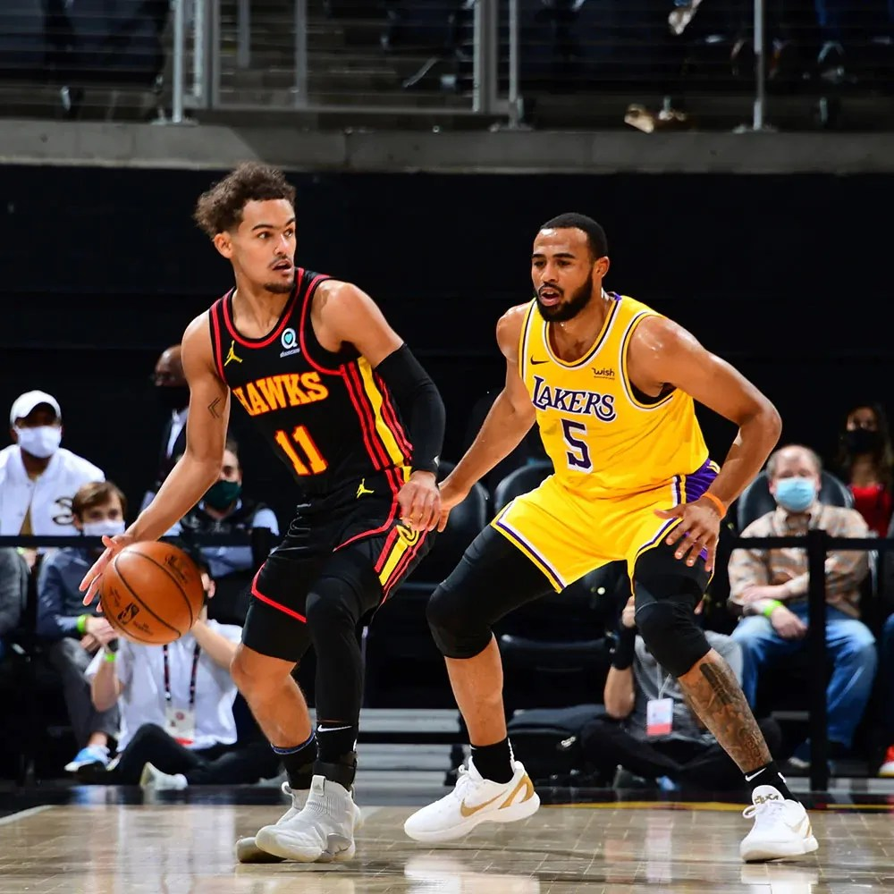 Trae Young and Talen Horton-Tucker, Los Angeles Lakers vs Atlanta Hawks