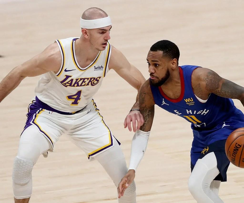 Alex Caruso and Monte Morris, Los Angeles Lakers vs Denver Nuggets