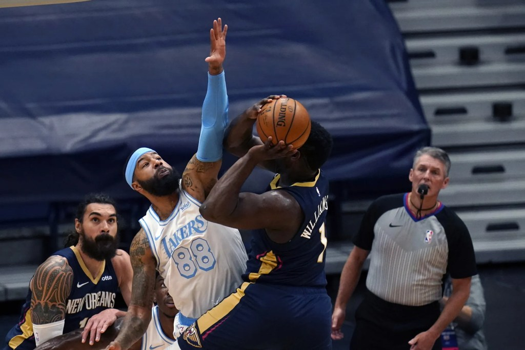 Zion Williamson and Markieff Morris, Los Angeles Lakers vs New Orleans Pelicans