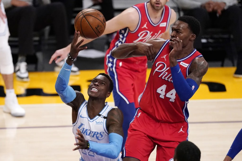 Dennis Schroder and Paul Reed, Los Angeles Lakers vs Philadelphia 76ers