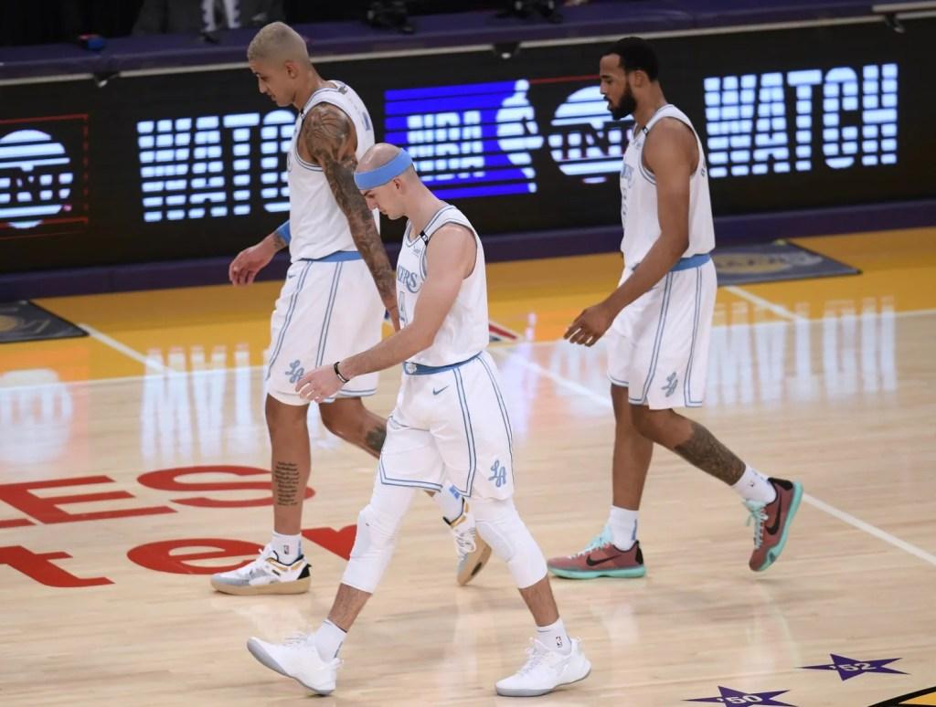 Kyle Kuzma, Alex Caruso and Talen Horton-Tucker, Los Angeles Lakers vs Philadelphia 76ers