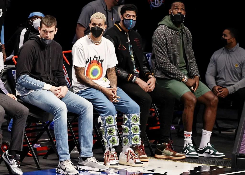 Kyle Kuzma, Anthony Davis and LeBron James; Los Angeles Lakers vs Brooklyn Nets