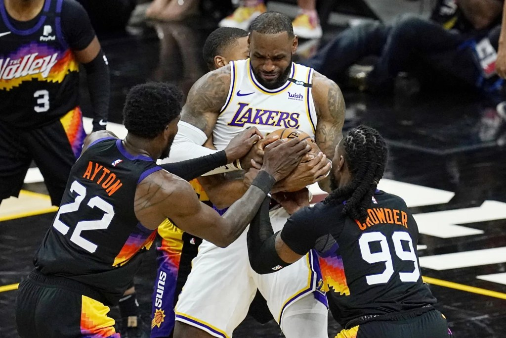 LeBron James, Deandre Ayton and Jae Crowder, Los Angeles Lakers vs Phoenix Suns