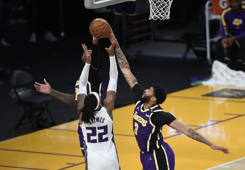 Anthony Davis and Richaun Holmes, Los Angeles Lakers vs Sacramento Kings