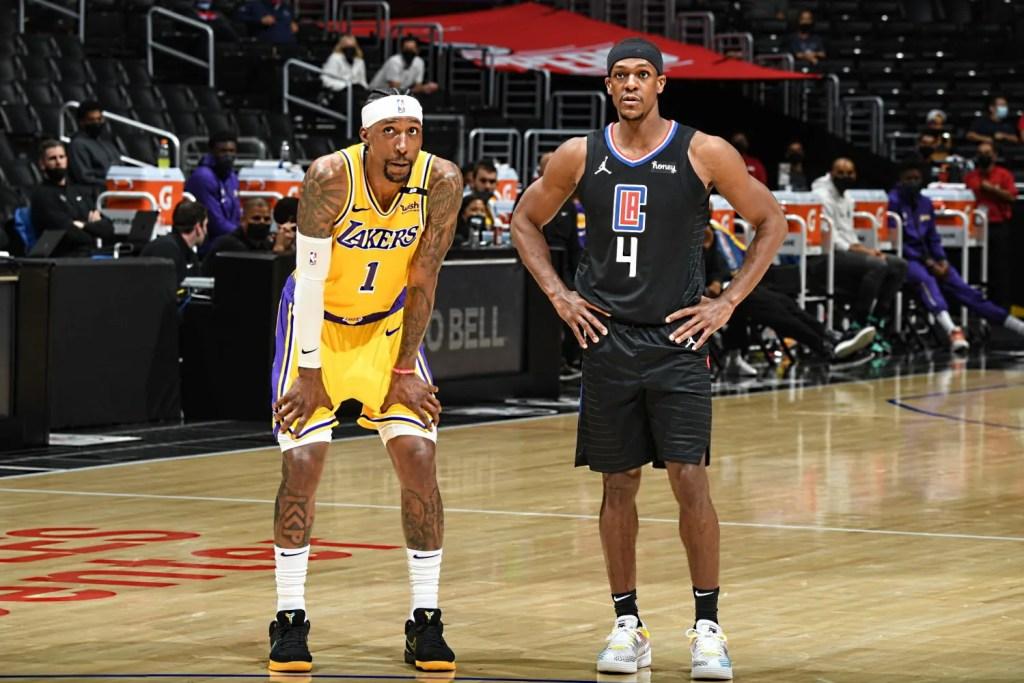 Kentavious Caldwell-Pope and Rajon Rondo, Los Angeles Lakers vs LA Clippers