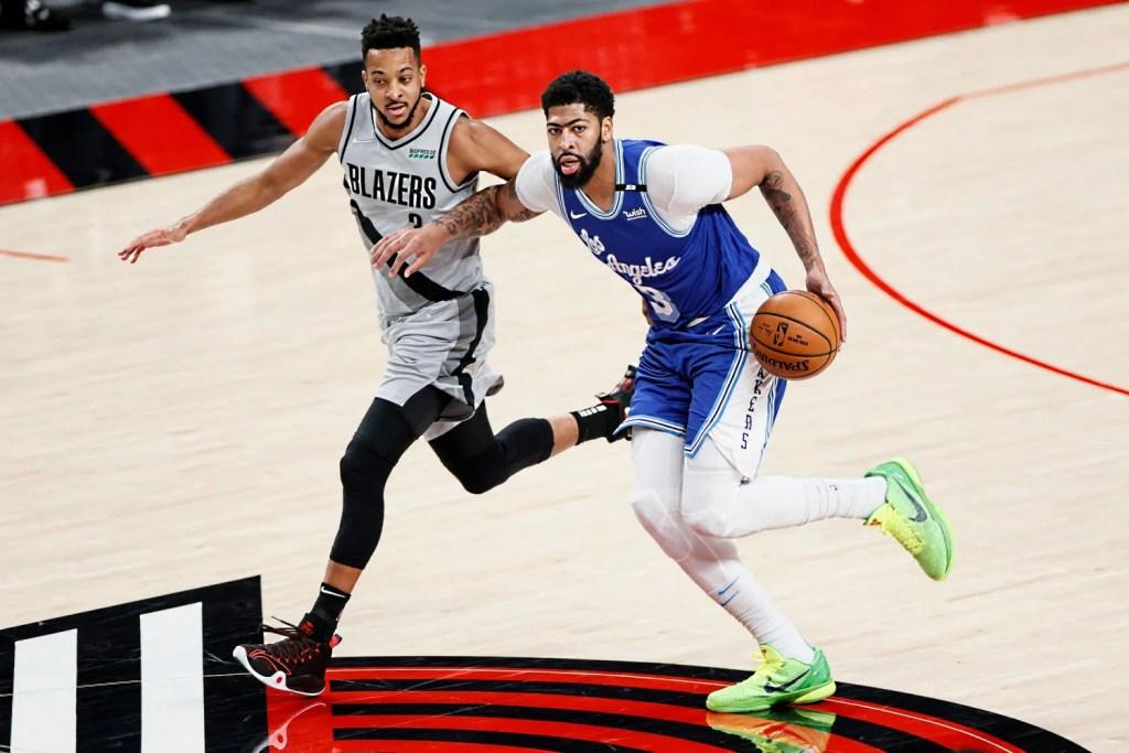 CJ McCollum and Anthony Davis, Los Angeles Lakers vs Portland Trail Blazers