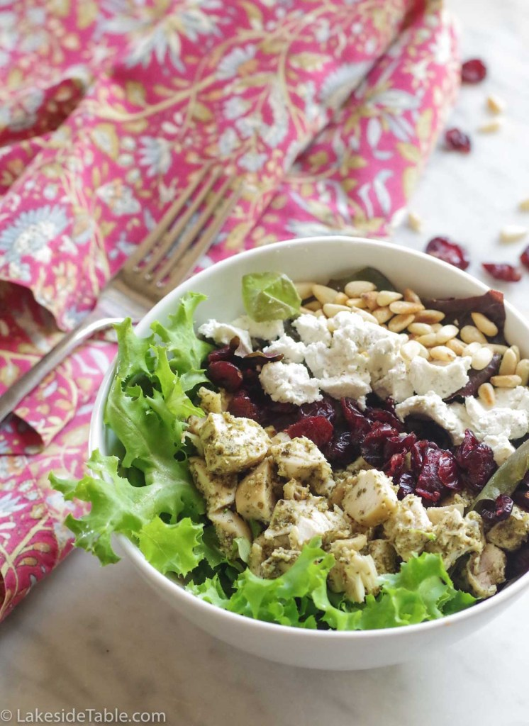 Green Goddess Salad with Pesto Chicken and Goat Cheese Recipe. This gluten free recipe is so easy and so good! | www.lakesidetable.com