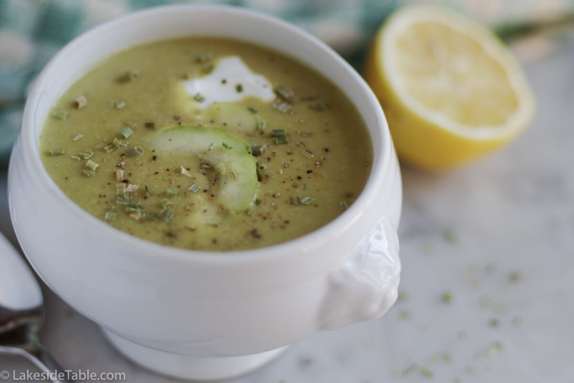 Asparagus Soup Recipe - Always a hit for Easter Brunch! Topped with cucumber, yogurt & chives. It's so good! | www.lakesidetable.com