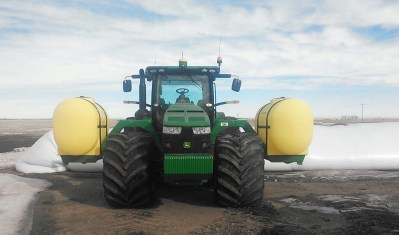 Lakestate Mfg tractor tank mounts on a tractor with Floater tires