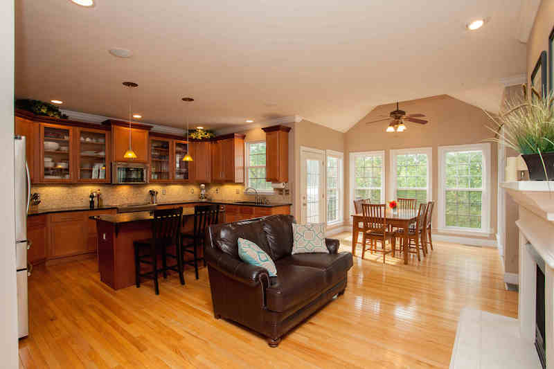 Kitchen, breakfast & hearth rooms with stunning views and tons of natural light
