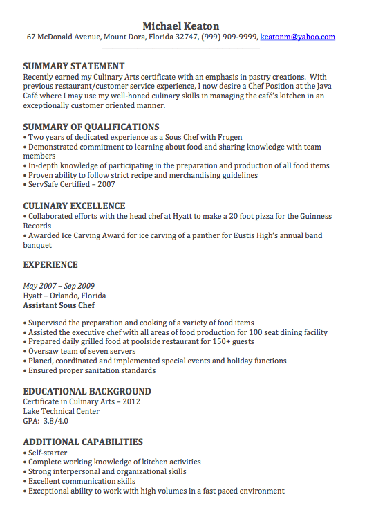 executive chef resume examples executive chef resumes example cook