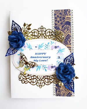 White and blue theme Anniversary card