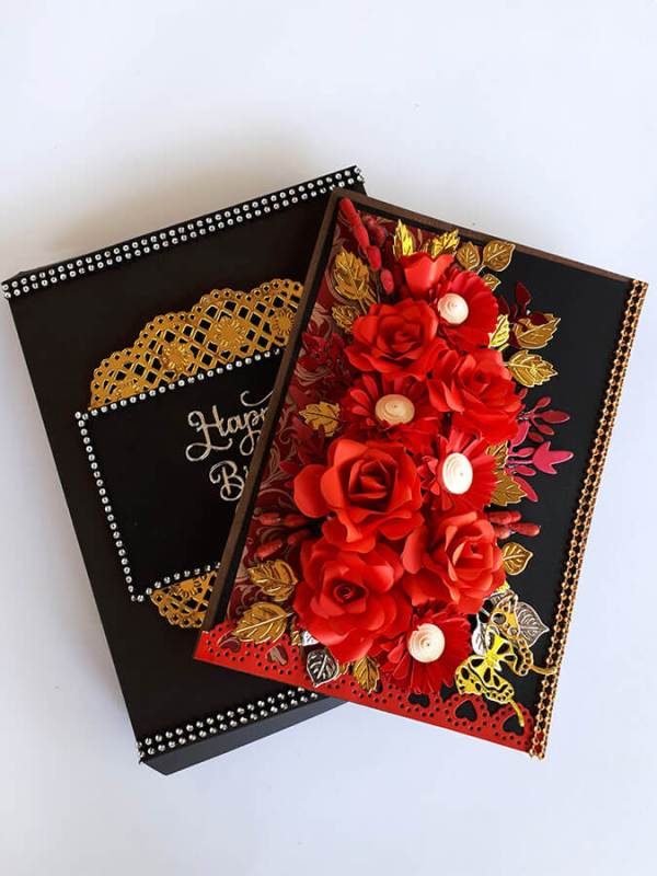 Black and red birthday box card with Red roses