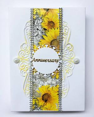 Yellow theme Anniversary card with box