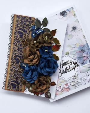 Blue and brown Birthday Greeting Card with box