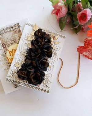 Birthday Gift for Him | Black rose Birthday box card
