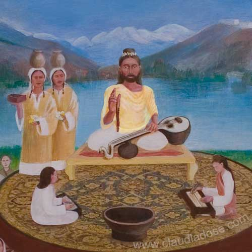 detail of Abhinavagupta and the lineage of (latest) masters of Kashmir Shaivism, painting by Claudia Dose
