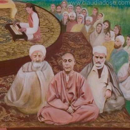 details Abhinavagupta and the lineage of (latest) masters of Kashmir Shaivism, painting by Claudia Dose