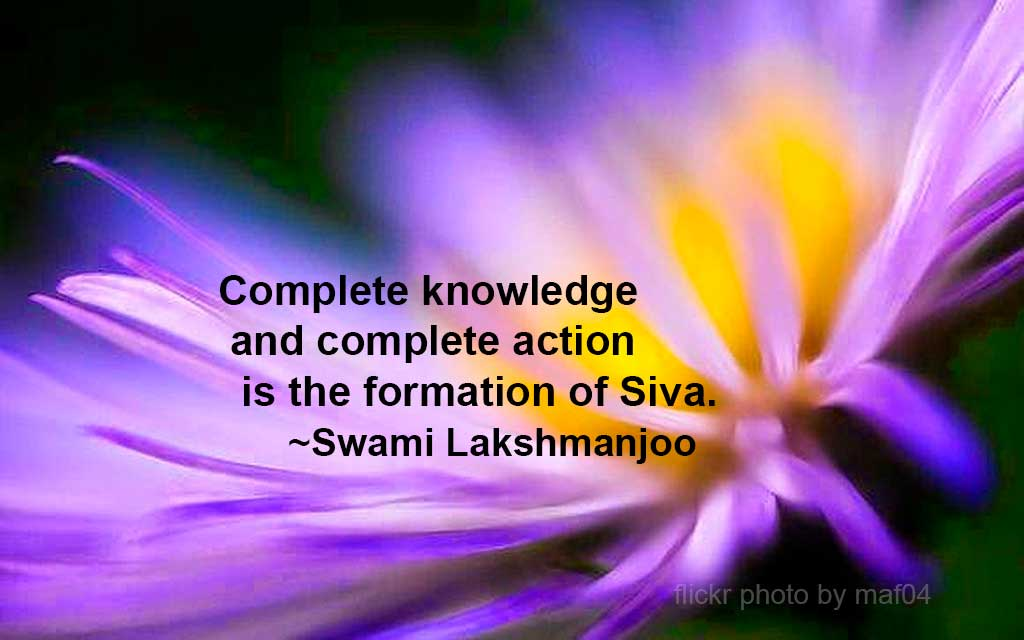 """Complete knowledge and complete action is the formation of Śiva"" ~Swami Lakshmanjoo"