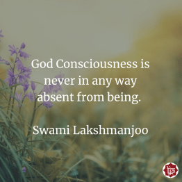 God consciousness is never in any way absent from being. ~Swami Lakshmanjoo