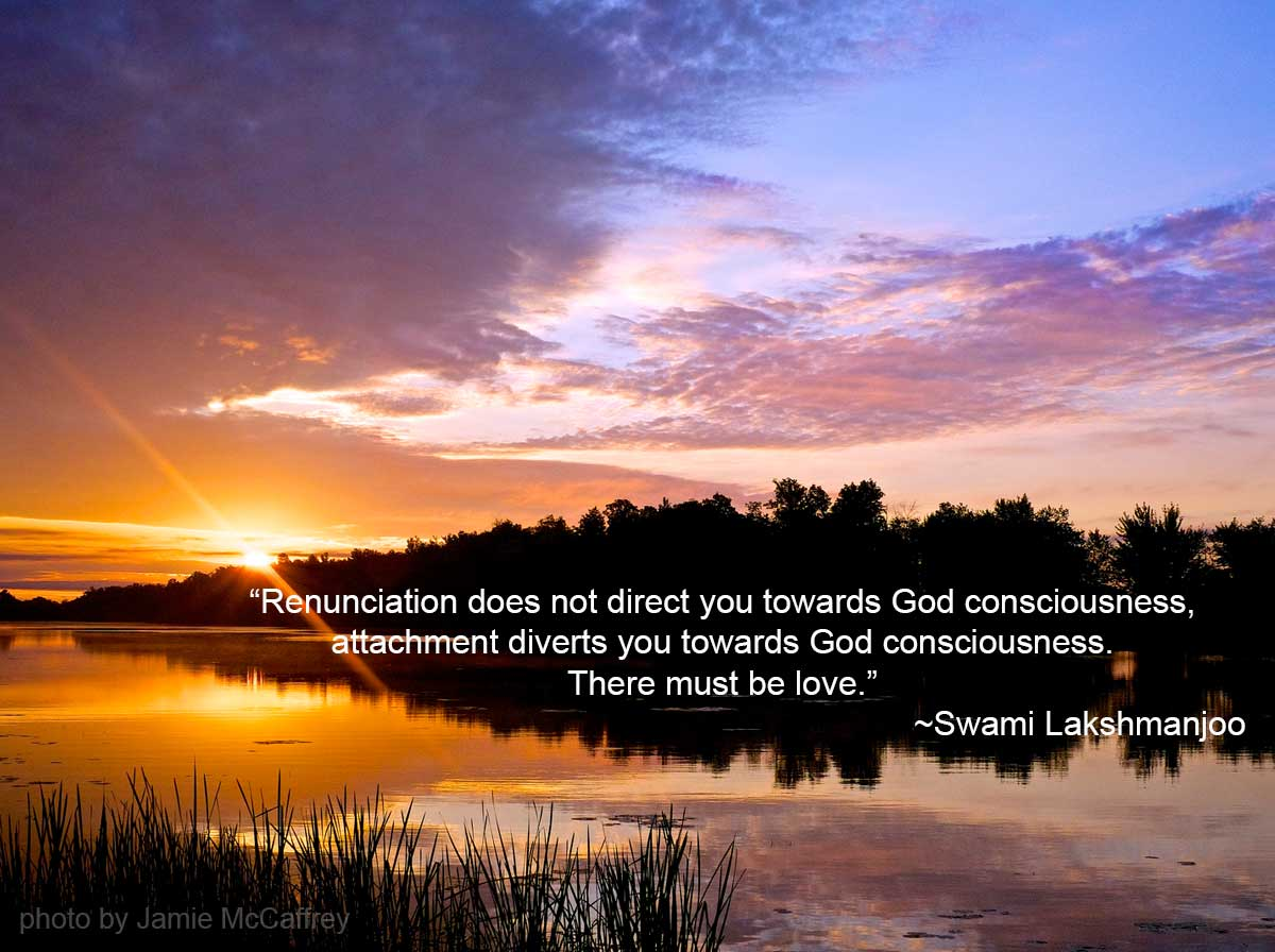 """Renunciation does not direct you towards God consciousness, attachment diverts you towards God consciousness. There must be love."" ~Swami Lakshmanjoo"