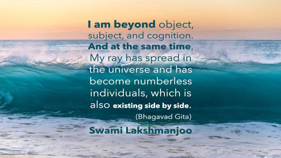 I am beyond object, subject, and cognition. And at the same time, My ray has spread in the universe and has become numberless individuals, which is also existing side by side. (Bhagavad Gita) Swami Lakshmanjoo