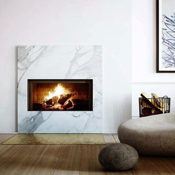 carrara marble fireplace via la la lovely