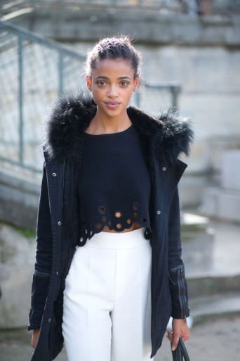 black-and-white-navy-white-pants-fall-whites-grommet-cutout-laser-cut-crop-top-parka-model-off-duty-style-hbz-street-style-paris-fashion-week-pfw-fall-fashion