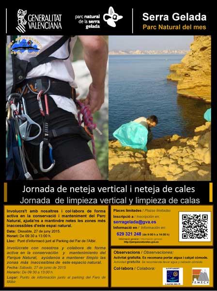Jornada de limpieza vertical y limpieza de calas en Serra Gelada