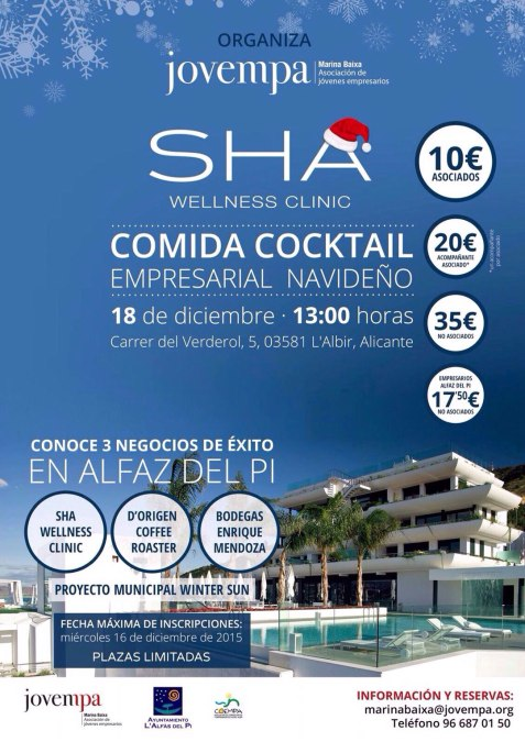 El Ayuntamiento de l'Alfàs del Pi y Jovempa Marina Baixa organizan un encuentro empresarial en Sha Wellness Clinic