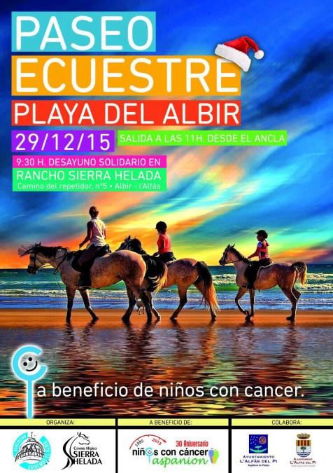Paseo ecuestre solidario por la playa de l'Albir a beneficio de Aspanion