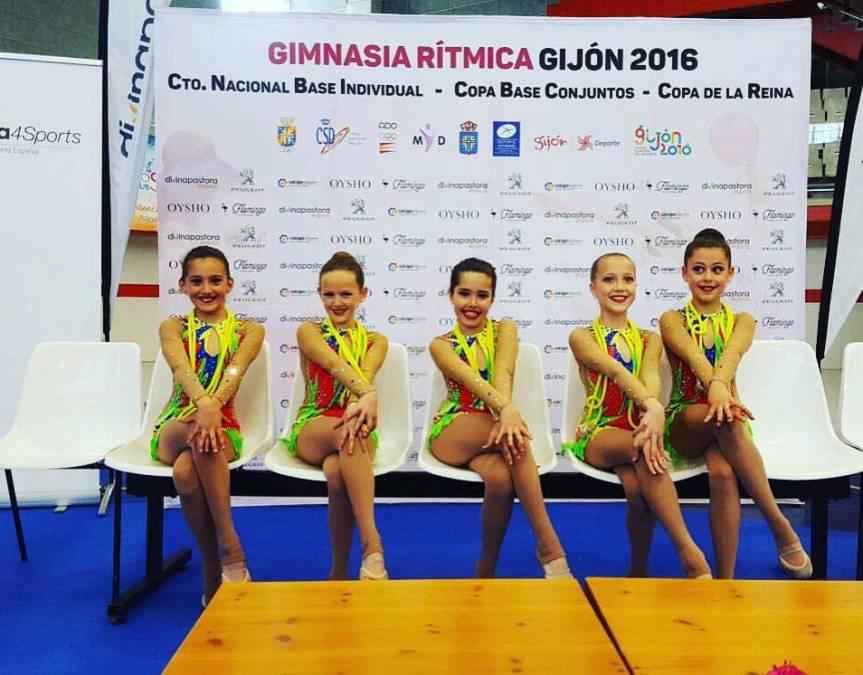 Destacada actuación de la Gimnasia Rítmica de l'Alfàs del Pi en el Campeonato Individual Base , Copa de la Reina y Copa Base de Conjuntos de España celebrado en Gijón .